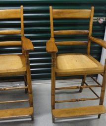 Pair of Beautiful, Maple Antique Billiard Saloon Spectator Chairs
