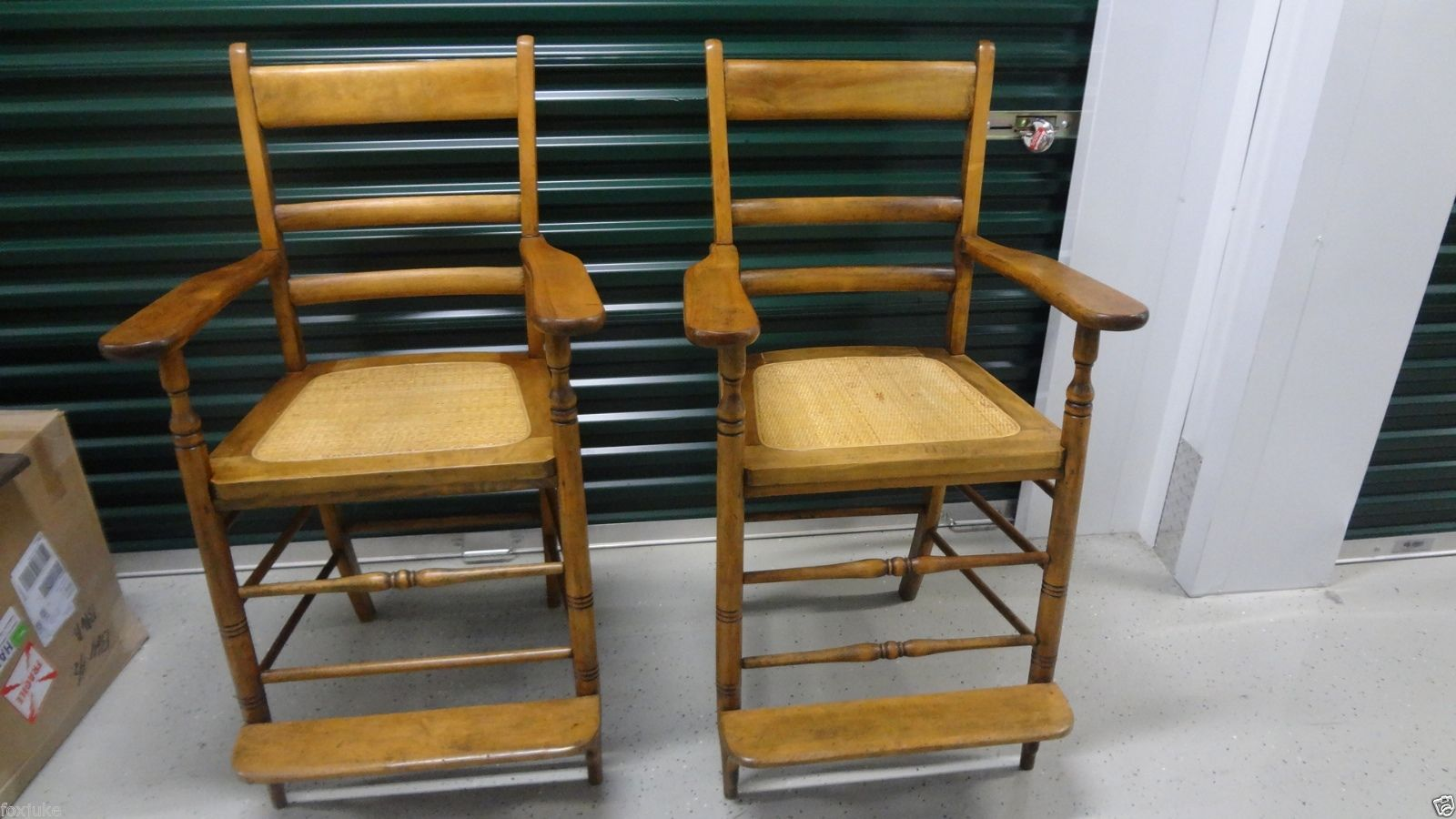 Beau Pair Of Beautiful, Maple Antique Billiard Saloon Spectator Chairs