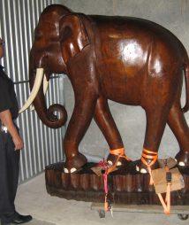 Jumbo Wood Elephant Hand Carved on Platform