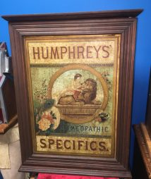 "HUMPHREYS' HOMEOPATHIC SPECIFICS"" DISPLAY MAPLE CABINET"