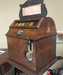 Mills 1902 Cigar Penny Trade Stimulator Rare Curve Oak Case