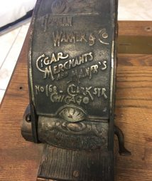 Antique Oak Case Wood Coin Cigar Vending EST.1883 Trade Stimulator