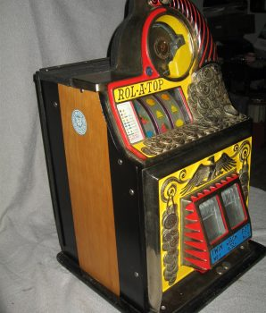Rol-A-Top COIN FRONT 5c Antique Slot Machine